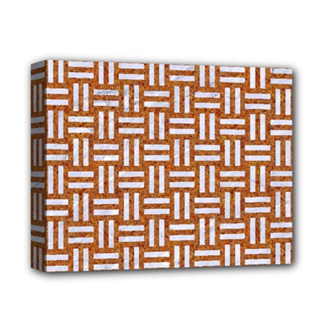 Woven1 White Marble & Rusted Metal Deluxe Canvas 14  X 11