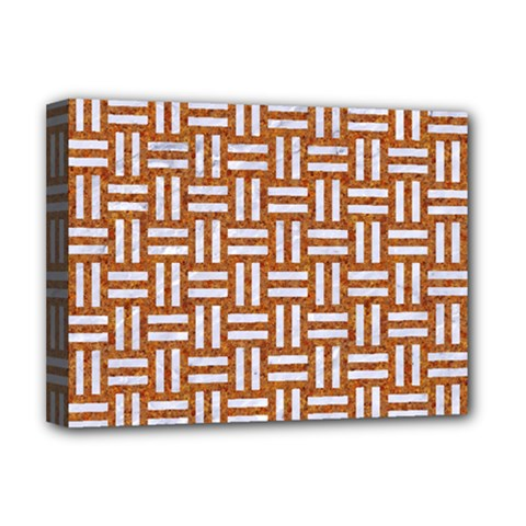 Woven1 White Marble & Rusted Metal Deluxe Canvas 16  X 12