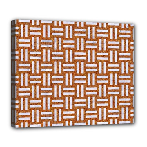 Woven1 White Marble & Rusted Metal Deluxe Canvas 24  X 20