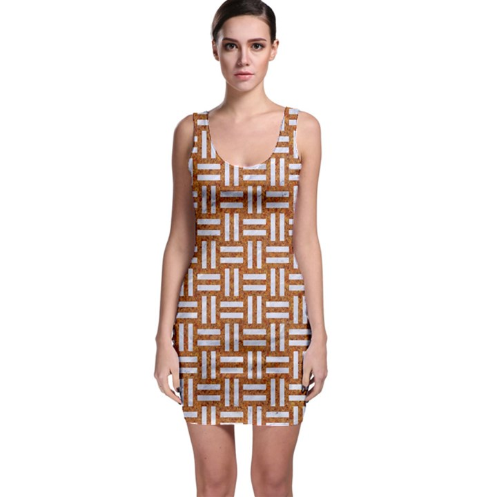 WOVEN1 WHITE MARBLE & RUSTED METAL Bodycon Dress