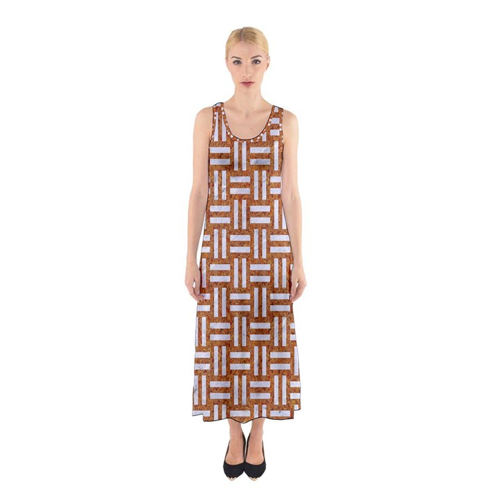 WOVEN1 WHITE MARBLE & RUSTED METAL Sleeveless Maxi Dress