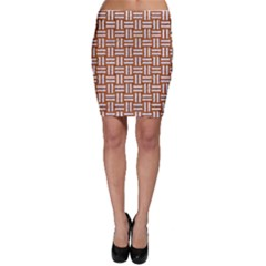 Woven1 White Marble & Rusted Metal Bodycon Skirt
