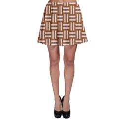 Woven1 White Marble & Rusted Metal Skater Skirt
