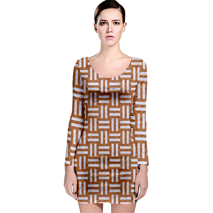 WOVEN1 WHITE MARBLE & RUSTED METAL Long Sleeve Bodycon Dress