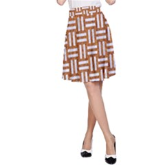Woven1 White Marble & Rusted Metal A Line Skirt