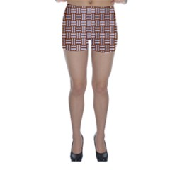 Woven1 White Marble & Rusted Metal Skinny Shorts