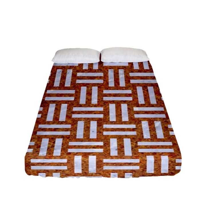 WOVEN1 WHITE MARBLE & RUSTED METAL Fitted Sheet (Full/ Double Size)