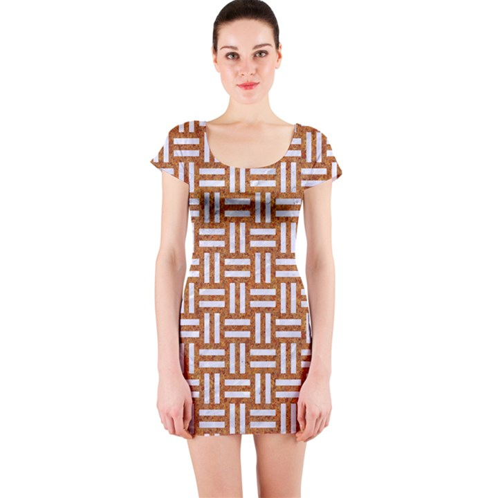 WOVEN1 WHITE MARBLE & RUSTED METAL Short Sleeve Bodycon Dress