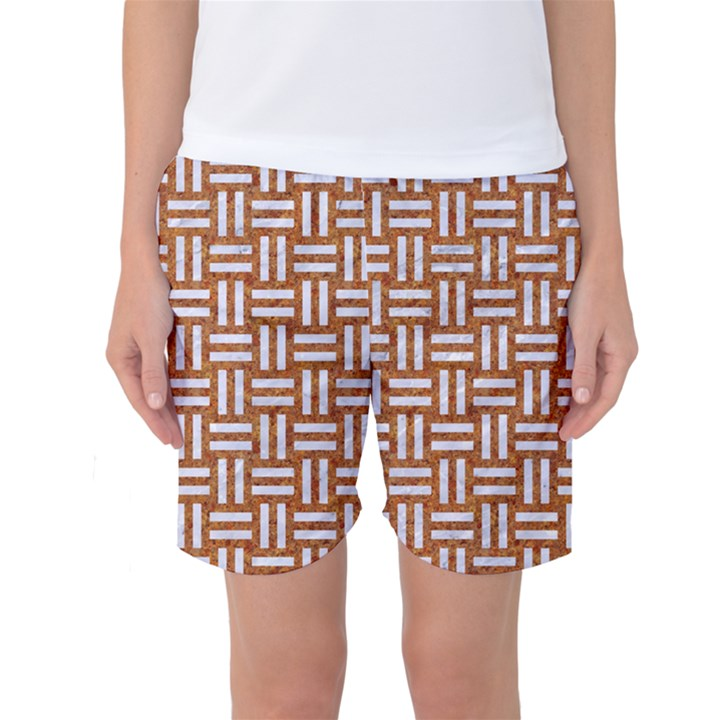 WOVEN1 WHITE MARBLE & RUSTED METAL Women s Basketball Shorts