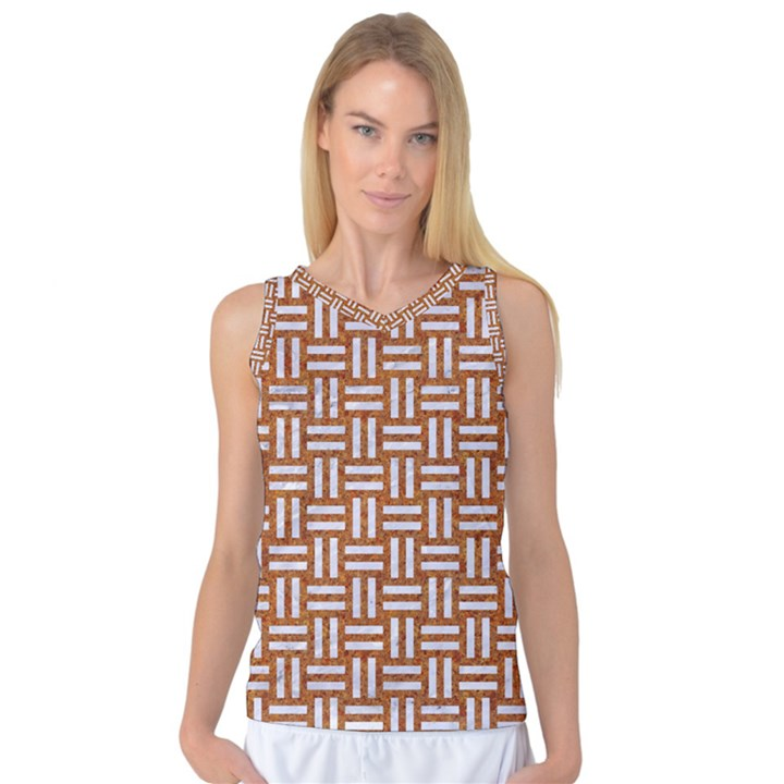 WOVEN1 WHITE MARBLE & RUSTED METAL Women s Basketball Tank Top