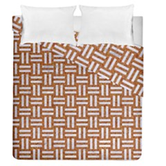 Woven1 White Marble & Rusted Metal Duvet Cover Double Side (queen Size)