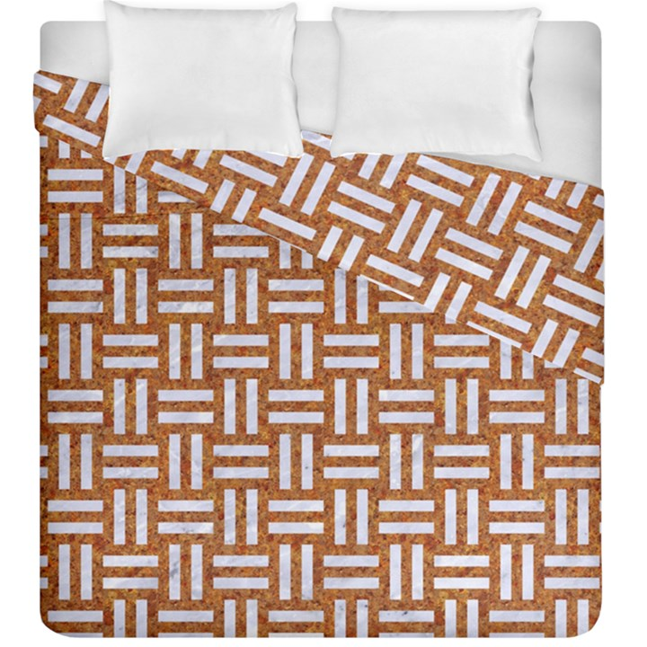WOVEN1 WHITE MARBLE & RUSTED METAL Duvet Cover Double Side (King Size)
