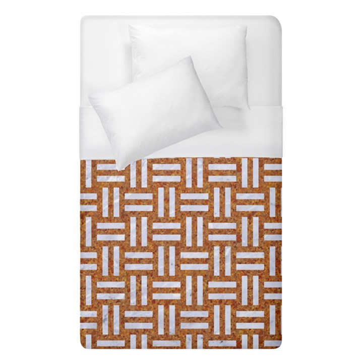 WOVEN1 WHITE MARBLE & RUSTED METAL Duvet Cover (Single Size)