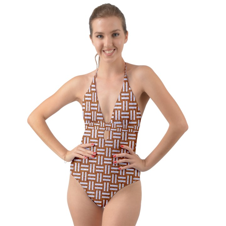 WOVEN1 WHITE MARBLE & RUSTED METAL Halter Cut-Out One Piece Swimsuit