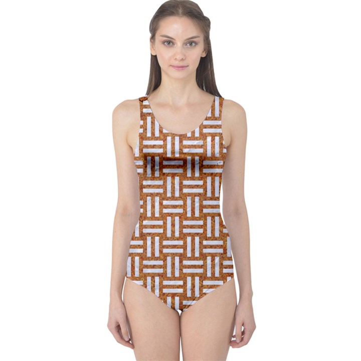 WOVEN1 WHITE MARBLE & RUSTED METAL One Piece Swimsuit