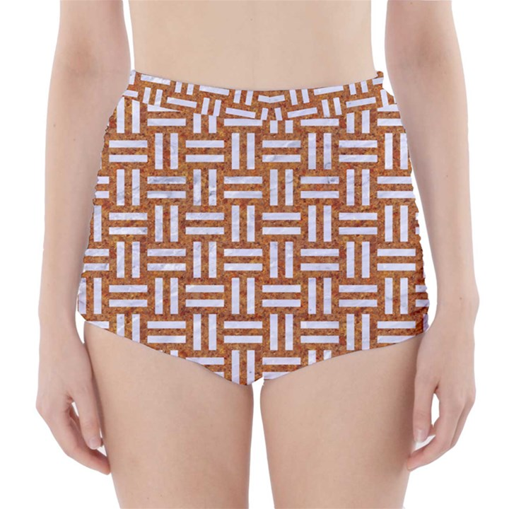 WOVEN1 WHITE MARBLE & RUSTED METAL High-Waisted Bikini Bottoms
