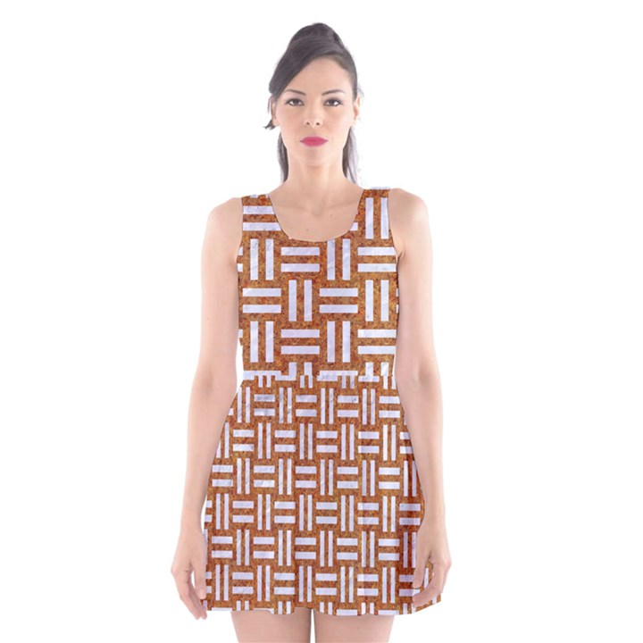 WOVEN1 WHITE MARBLE & RUSTED METAL Scoop Neck Skater Dress