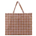 WOVEN1 WHITE MARBLE & RUSTED METAL Zipper Large Tote Bag View1