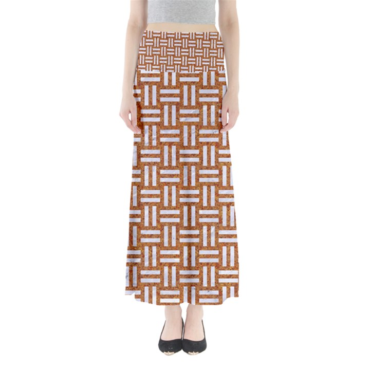 WOVEN1 WHITE MARBLE & RUSTED METAL Full Length Maxi Skirt