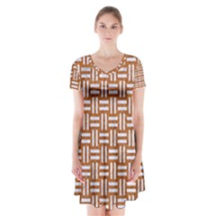 Woven1 White Marble & Rusted Metal Short Sleeve V Neck Flare Dress