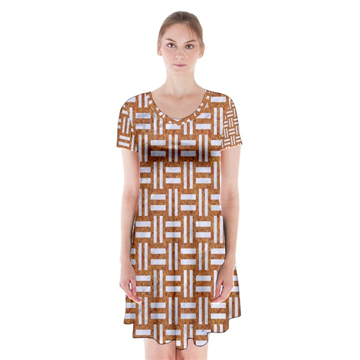 WOVEN1 WHITE MARBLE & RUSTED METAL Short Sleeve V-neck Flare Dress