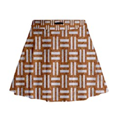 Woven1 White Marble & Rusted Metal Mini Flare Skirt