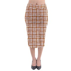 Woven1 White Marble & Rusted Metal Midi Pencil Skirt