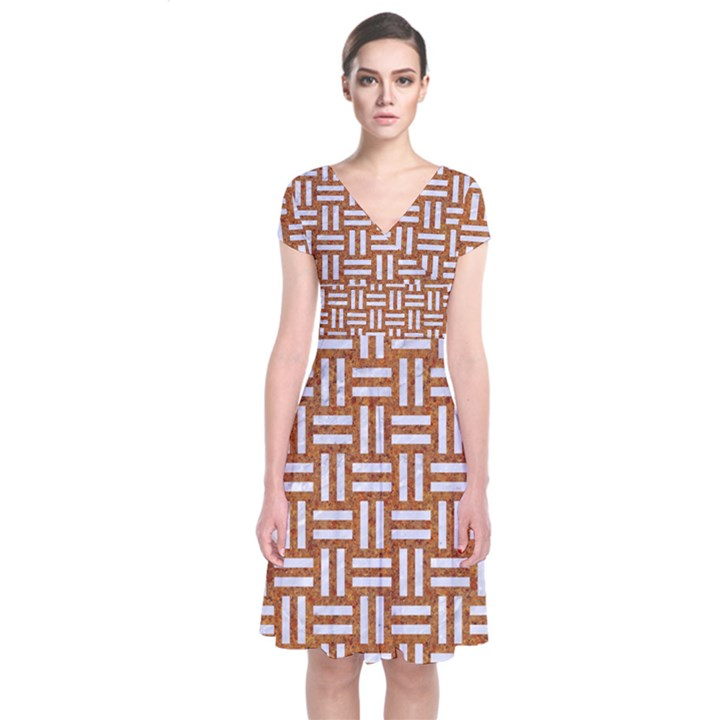 WOVEN1 WHITE MARBLE & RUSTED METAL Short Sleeve Front Wrap Dress