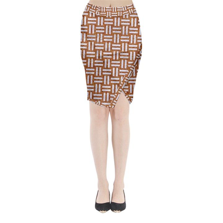 WOVEN1 WHITE MARBLE & RUSTED METAL Midi Wrap Pencil Skirt