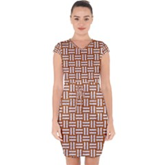 Woven1 White Marble & Rusted Metal Capsleeve Drawstring Dress