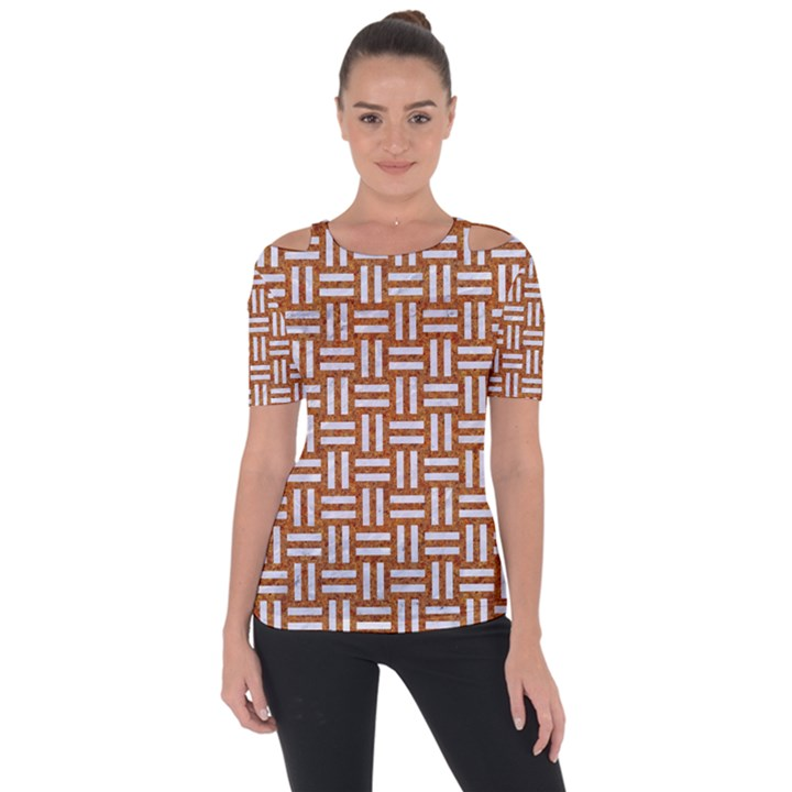 WOVEN1 WHITE MARBLE & RUSTED METAL Short Sleeve Top
