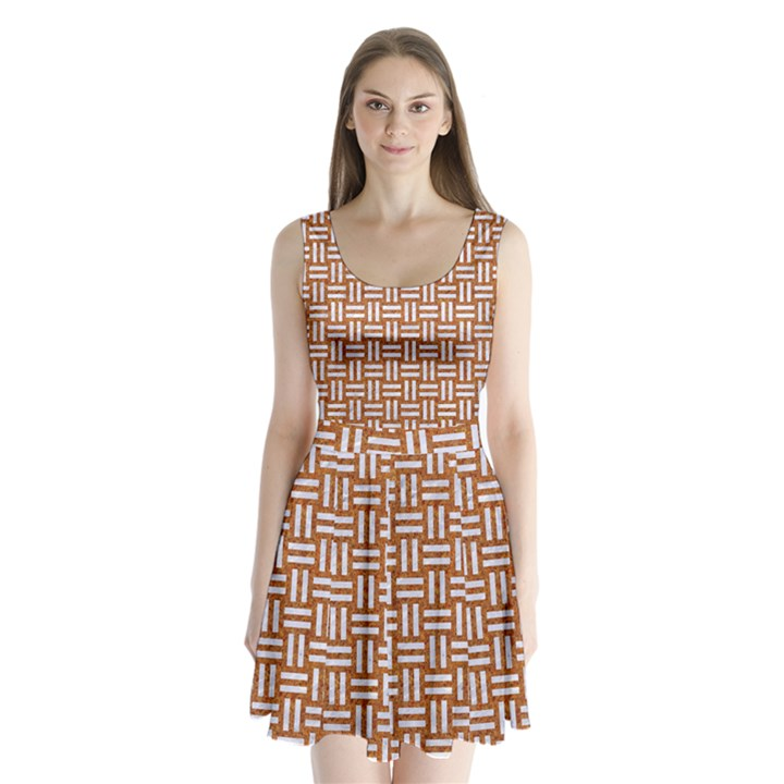 WOVEN1 WHITE MARBLE & RUSTED METAL Split Back Mini Dress