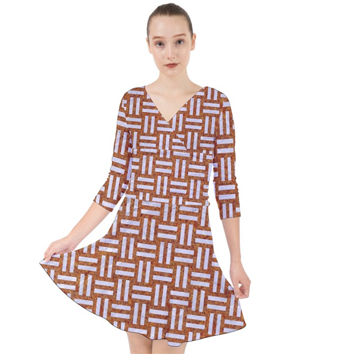 WOVEN1 WHITE MARBLE & RUSTED METAL Quarter Sleeve Front Wrap Dress