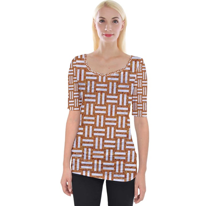 WOVEN1 WHITE MARBLE & RUSTED METAL Wide Neckline Tee