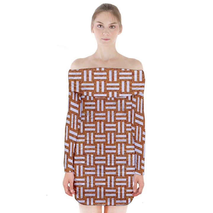 WOVEN1 WHITE MARBLE & RUSTED METAL Long Sleeve Off Shoulder Dress