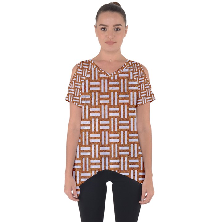 WOVEN1 WHITE MARBLE & RUSTED METAL Cut Out Side Drop Tee