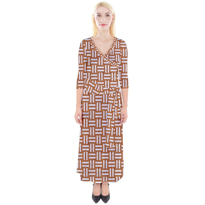 WOVEN1 WHITE MARBLE & RUSTED METAL Quarter Sleeve Wrap Maxi Dress
