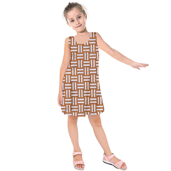 WOVEN1 WHITE MARBLE & RUSTED METAL Kids  Sleeveless Dress