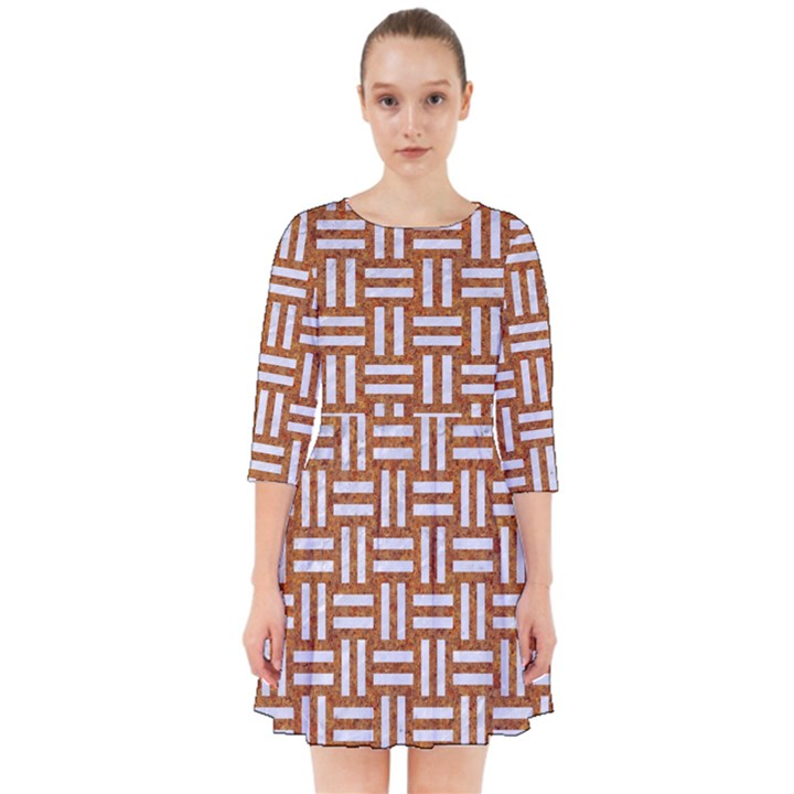 WOVEN1 WHITE MARBLE & RUSTED METAL Smock Dress
