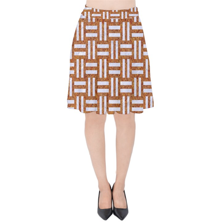 WOVEN1 WHITE MARBLE & RUSTED METAL Velvet High Waist Skirt