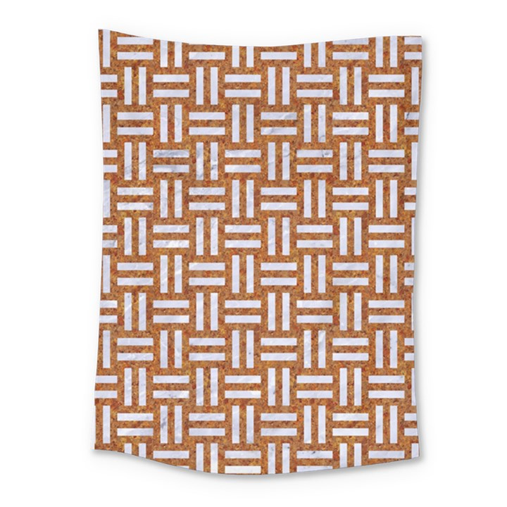 WOVEN1 WHITE MARBLE & RUSTED METAL Medium Tapestry