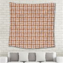 WOVEN1 WHITE MARBLE & RUSTED METAL Square Tapestry (Large) View2