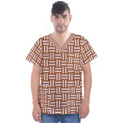 Woven1 White Marble & Rusted Metal Men s V Neck Scrub Top
