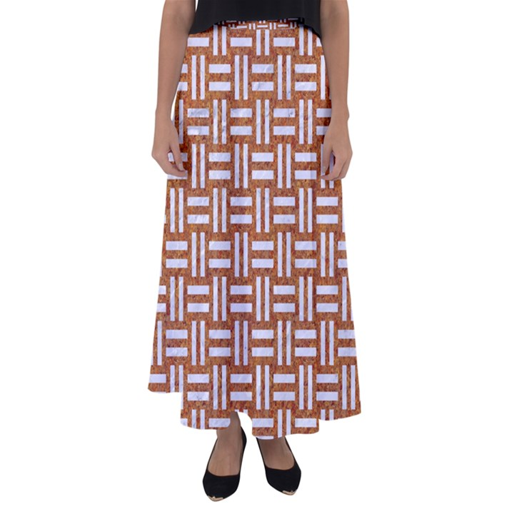 WOVEN1 WHITE MARBLE & RUSTED METAL Flared Maxi Skirt