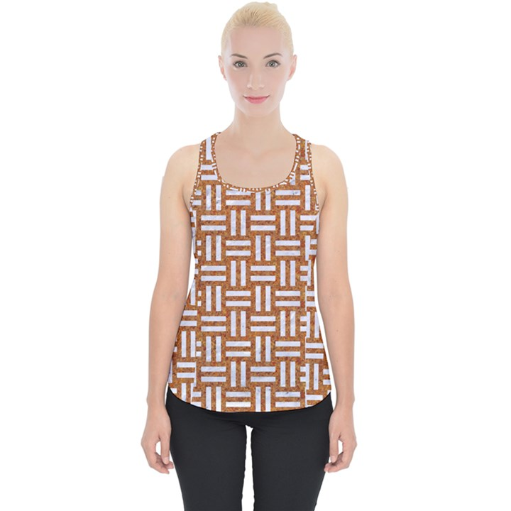 WOVEN1 WHITE MARBLE & RUSTED METAL Piece Up Tank Top