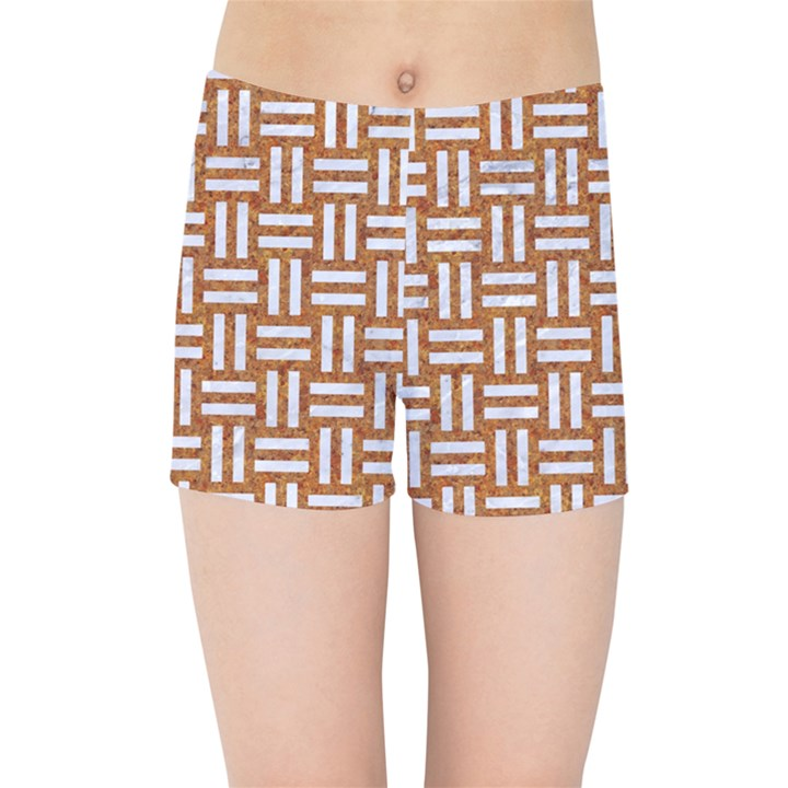 WOVEN1 WHITE MARBLE & RUSTED METAL Kids Sports Shorts