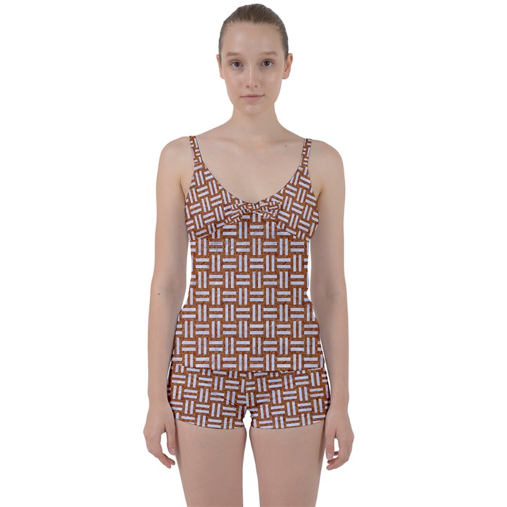 WOVEN1 WHITE MARBLE & RUSTED METAL Tie Front Two Piece Tankini