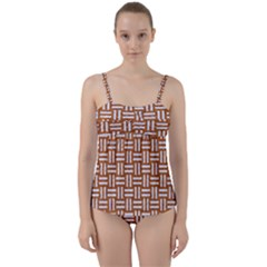 Woven1 White Marble & Rusted Metal Twist Front Tankini Set