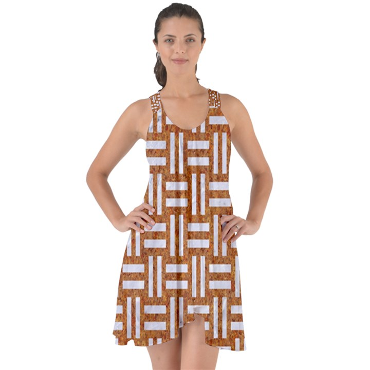 WOVEN1 WHITE MARBLE & RUSTED METAL Show Some Back Chiffon Dress