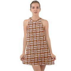 Woven1 White Marble & Rusted Metal Halter Tie Back Chiffon Dress